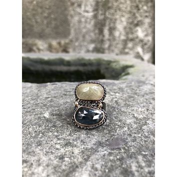Unique 2 sapphire gemstones 925k sterling silver womens ring