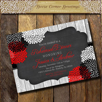 Rehearsal Dinner Invitation Chalkboard Wood Black, Red & White Peonies Rustic Rehearsal Dinner Birthday invitations Surprise Birthday