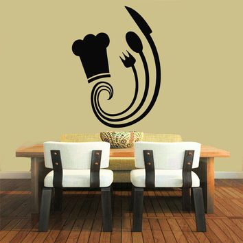 Wall Decals Vinyl Decal Sticker Art Mural Kitchen Decor Chef Cooking Decal Kj417