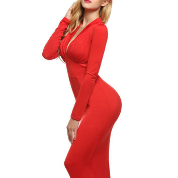 Finejo Women Sexy Lady Long Sleeve Deep V Neck High Waist Calf Length Solid Casual Party Midi Dress plus size s-xxxl