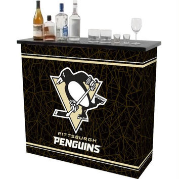 NHL Pittsburgh Penguins 2 Shelf Portable Bar w- Case