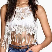 White Crochet Lace Fringed Cropped Sleeveless Top