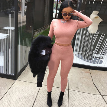 2017 Fashion style suede Jumpsuit womens Rompers Beige color long pants Bodycon Sexy fitted jumpsuits 2 pieces set tracksuit