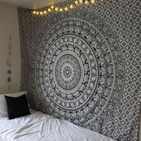 Mandala tapestry Hippie wall hanging Elephant Bedroom Twin Size