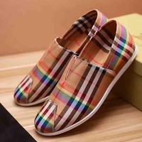 Burberry New fashion rainbow plaid men shoes single shoes khaki