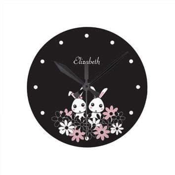 Personalized Cute Animal Round Wall Clocks for Girl's Room: Gift Idea for Girl Twins, Sisters, Best Friends: Kawaii Twin Bunnies