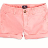 AEO 's Twill Midi Short (Knockout Pink)