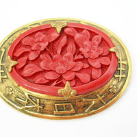 Walter Lampl Cinnabar Brooch in Goldtone Setting with Oriental Symbols - Vintage 1930s Era - Signed in Block Letters - Art Deco Jewelry