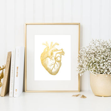 Human Heart Faux Gold Foil Art Print - Anatomy Art Print - Wall Art