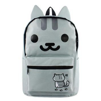 Hot Anime game cartoo Neko Atsume cute cat ear fashion Leisure man woman girl canvas bag Preppy style schoolbag gift Backpacks