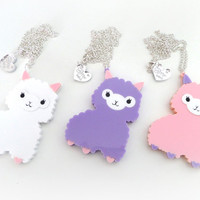 Pastel Alpaca Necklace: PERFECT PASTELS Baby Pink, Lilac and White Acrylic Alpaca Necklace