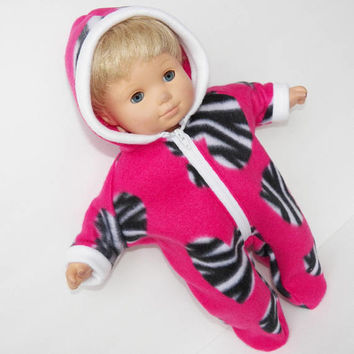 bitty baby doll clothes, bitty baby clothes Pink Black White Zebra Print Heart Valentine's Day Snowsuit, handmade by adorabledolldesigns