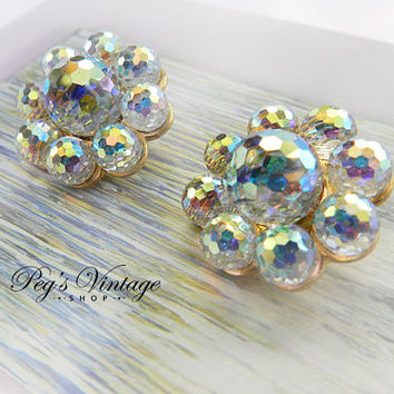 Lavender/Blue Aurora Borealis Crystal Rhinestone Earrings, AB Glass Cluster Clip Earrings Western Germany
