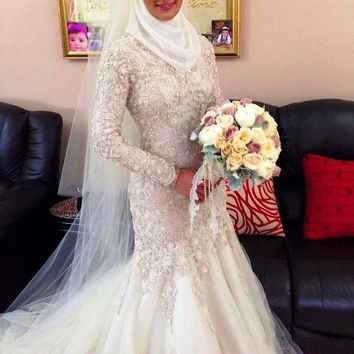 Custom Muslim Wedding Dresses High Neck Long Sleeve Beads Mermaid Wedding Gown