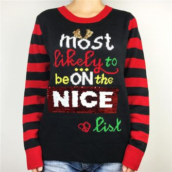 Funny Nice Naughty List Sequin Ugly Christmas Sweaters for Women Kawaii Girls Knitted Xmas Pullover Jumper Oversized M-3XL