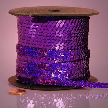 Purple Holographic Faceted Extra Sparkle String 6mm x 80 yards Sequins