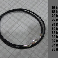Choose the Length - Black Satin Necklace Cord with Silver Plated Lobster Clasp