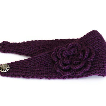 Eggplant Purple Knit Headband With Crochet Flower Accent