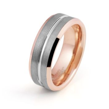Mens Wedding Band Rose Gold Ring 18k Tungsten Carbide Brushed Man Engagement Ring High Polished 8mm Rose Gold Anniversary Ring