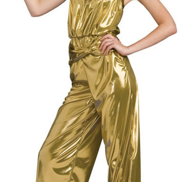 Gold Metallic Sleeveless Jumpsuit