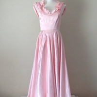Vintage Party Dress / Pink Satin / Princess Dress / Ruffles / Long Dress / Full Gathered Skirt / Vintage Dress / Prom Dress / Costume