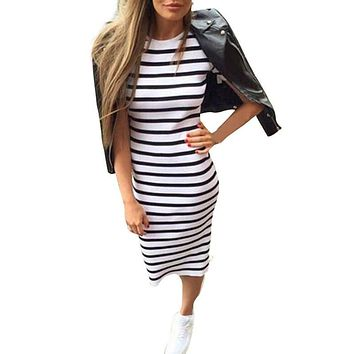 Woman Fashion  Stripe Long Maxi O-Neck Collar Dress Boho Sexy Satin Slips Fashionable Dress Women Summer 2017