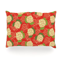 "Holly Helgeson ""Cammelia"" Red Yellow Oblong Pillow"