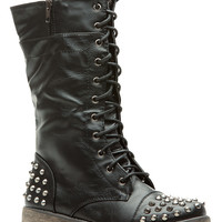 Black Faux Leather Spiked Lace Up Combat Boots