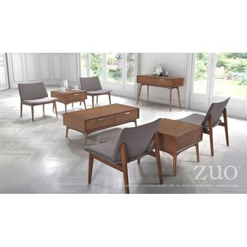 ZUO Modern Design District Console Table Walnut 100093 Living Coffee Consoles