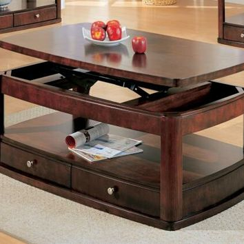 Wildon collection merlot finish wood lift top coffee table with 2 storage drawers