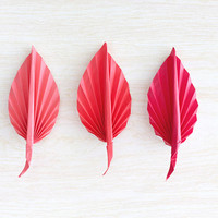 3 Origami Paper Leaf Fall Autumn Boutonnieres Pink Rose Red Leaves Brooch Wedding Favor Groomsmen Pocket Square Bridesmaid Corsage Lapel Pin