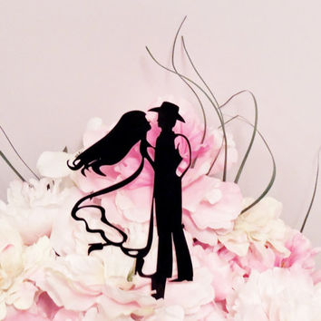 Elegant Western Couple Cake Topper