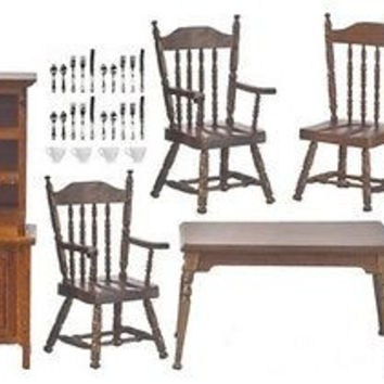 1:12 Scale Dining Room Set, Table/Chairs/Hutch #T6415