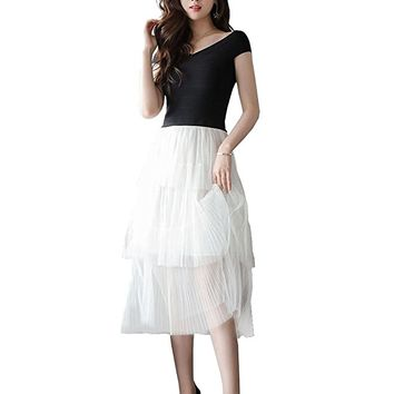 Women's Off The Shoulder Tea Length Party Dress A Line Tulle Skirt