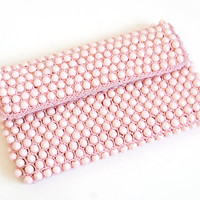 1960s Delill Pink Beaded Purse, Evening Clutch Handbag, Hand Made in Italy