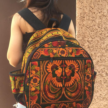 Trippy Backpack Tribal Embroidered Bohemian Hippie Retro Hmong Flower fabric Festival Travel Luggage School backpack bucket bag Women Gifts