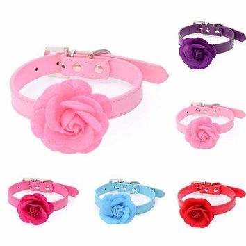 1 x New Fashion PU Leather Receiver One Row Sun Flower Studded Dog Pet Teddy Necklace Collar
