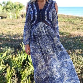 Before The Storm Long Sleeve Print Maxi Dress With Cutout Shoulders