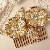 Vintage OOAK Gold Bridal Hair Comb, Heirloom Clear Rhinestone Art Deco Floral Spray Pave Brooch to One of a Kind Haircomb EXQUISITE