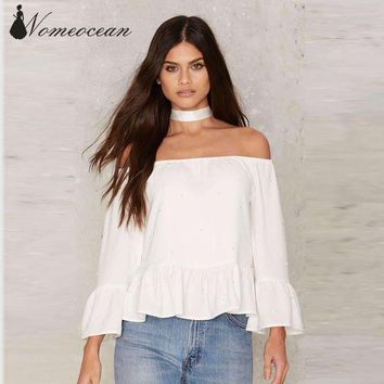 LMFLD1 World is Her Off-the-Shoulder Top Beading Slash Neck Women Shirts Ruffle Peplum Blouses 2017 Summer Tops of Women M17030318