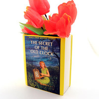 Nancy Drew, The Secret of The Old Clock, upcycled vintage book vase, gift for mystery lover, gift for her, home decor, book lover