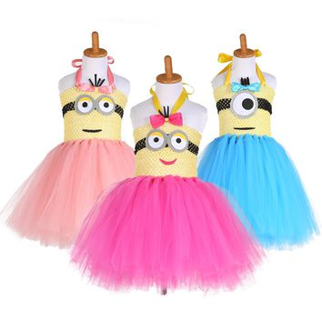2017 New Arrival Cartoon Tutu Dress Kids Minion Costume Baby Girls Minion Birthday Party Tulle Dress