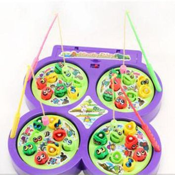 DCCKL72 2014 New Child Kid Educational Toy Electric Rotating Magnetic Magnet Fish Go Fishing Game radom color