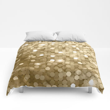 Gold glitter texture Comforters by printapix