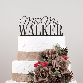 Wedding Cake Topper, Cake Topper With Your Surname, Acrylic Cake Topper, Custom Cake Topper, Personalized Cake Topper
