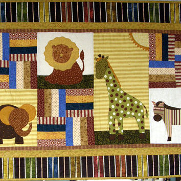 Children's Babies Art Quilt Quilted Wall Hanging Animal Quilt Baby Quilt Toddler Quilt Nursery Decor