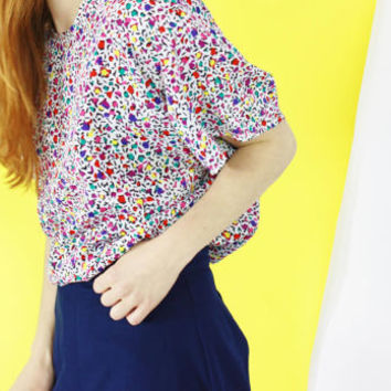 80s blouse oversized shirt psychedelic animal print shirt allover print colorful boho style abstract pattern OS