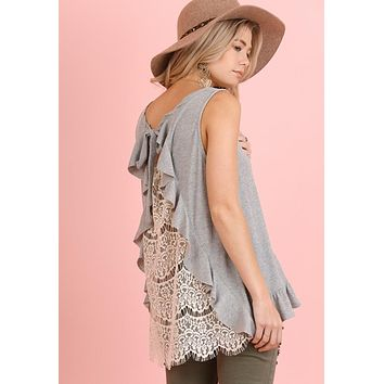 Arizona Lace Back Top with Ruffled Details