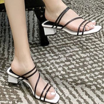 Hot selling square toe open toe with thin belt thick with sandals