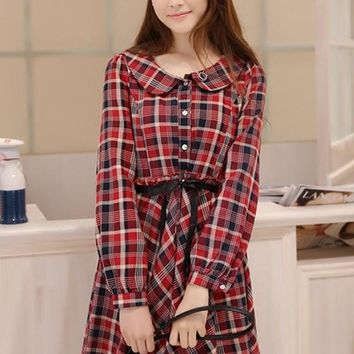 Red Plaid Print Single Breasted Peter Pan Collar Cute Midi Dress